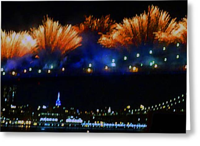 4th July Photographs Greeting Cards - Fireworks On The Brooklyn Bridge Greeting Card by Kendall Eutemey