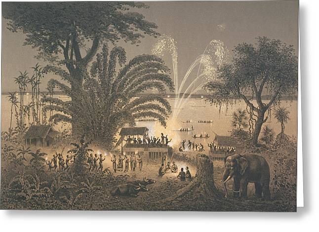 Fireworks On The River At Celebrations Greeting Card by Louis Delaporte