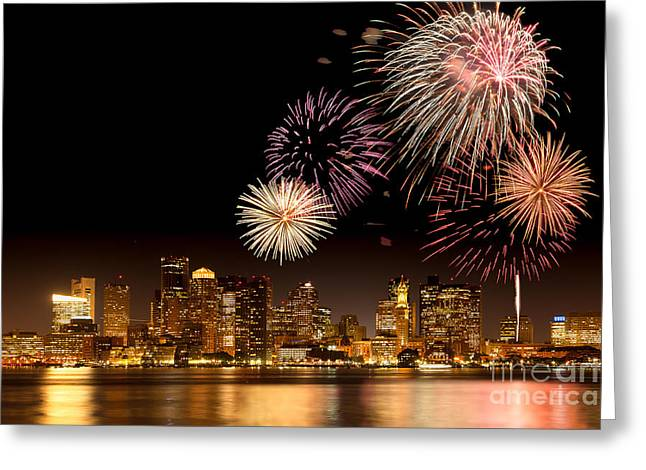Fireworks over Boston Harbor Greeting Card by Susan Cole Kelly