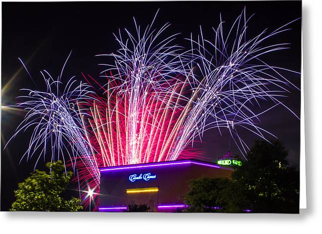 Pyrotechnics Digital Art Greeting Cards - Fireworks Over Broadway at the Beach Greeting Card by Rob Sellers