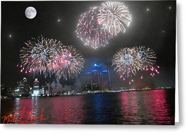 Fireworks Over Detroit Greeting Card by Michael Rucker
