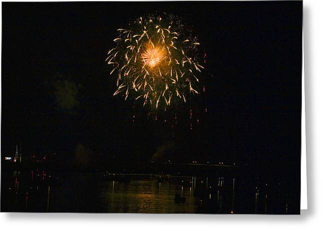 Williamsport Greeting Cards - Fireworks Over Market Street Bridge Greeting Card by Gene Walls