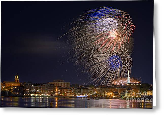 Old North Church Greeting Cards - Fireworks over Portsmouth N H  Greeting Card by Scott Thorp