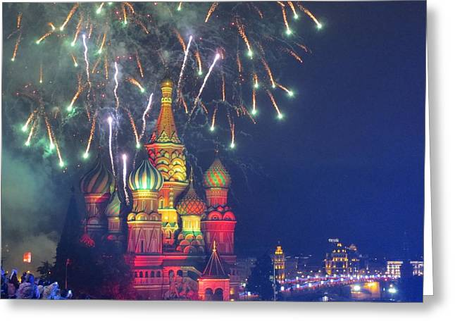 Michael Fitzpatrick Greeting Cards - Fireworks over Red Square Greeting Card by Michael Fitzpatrick