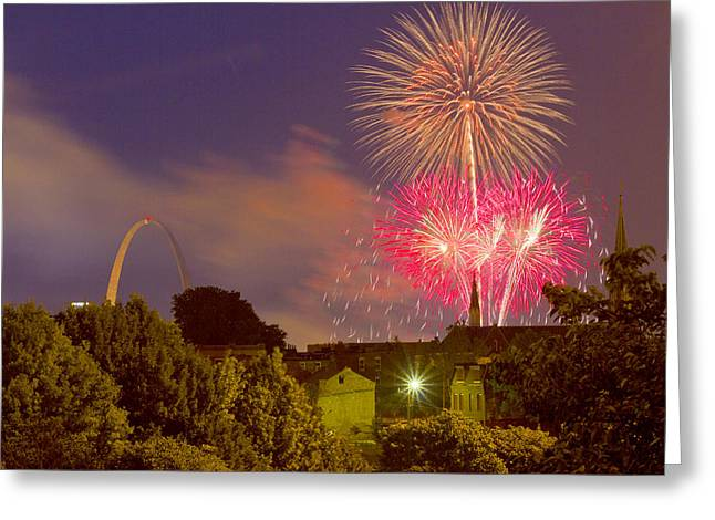Stainless Steel Greeting Cards - Fireworks over St Louis Greeting Card by Garry McMichael