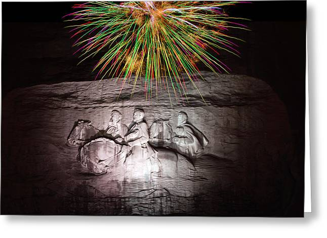 Pyrotechnics Greeting Cards - Fireworks Over Stone Mountain Greeting Card by Penny Lisowski