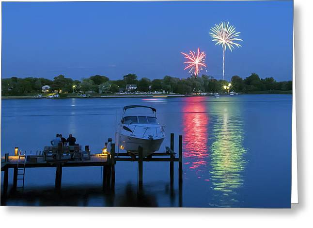 Boats In Water Greeting Cards - Fireworks Over Stony Creek Greeting Card by Brian Wallace