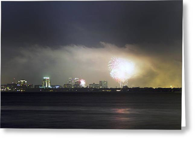 4th July Photographs Greeting Cards - Fireworks Over Tampa Bay Greeting Card by William Ragan