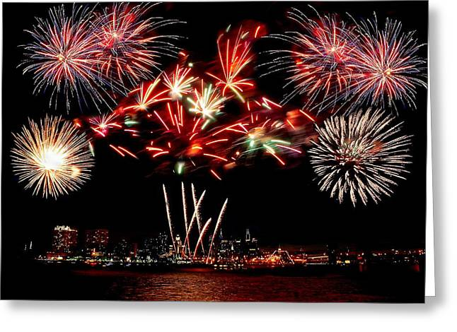 4th July Photographs Greeting Cards - Fireworks over the Delaware Greeting Card by Nick Zelinsky