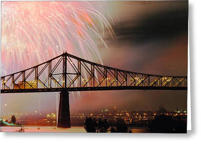 Fireworks Display Greeting Cards - Fireworks Over The Jacques Cartier Greeting Card by Panoramic Images