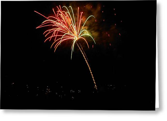 Fireworks Over the Lake 3 Greeting Card by Dawn's Good Nature