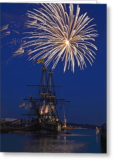 4th July Greeting Cards - Fireworks over the Salem Friendship Greeting Card by Toby McGuire