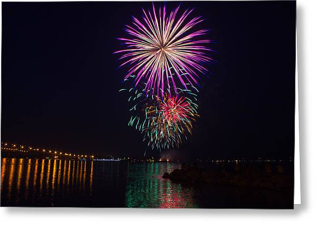 Pyrotechnics Greeting Cards - Fireworks over the York River Greeting Card by James Drake