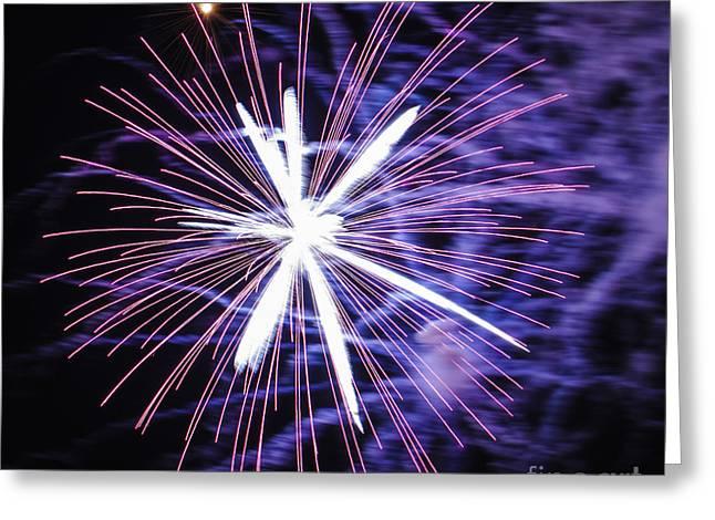Feuerwerk Greeting Cards - Fireworks Pink Greeting Card by Katja Zuske