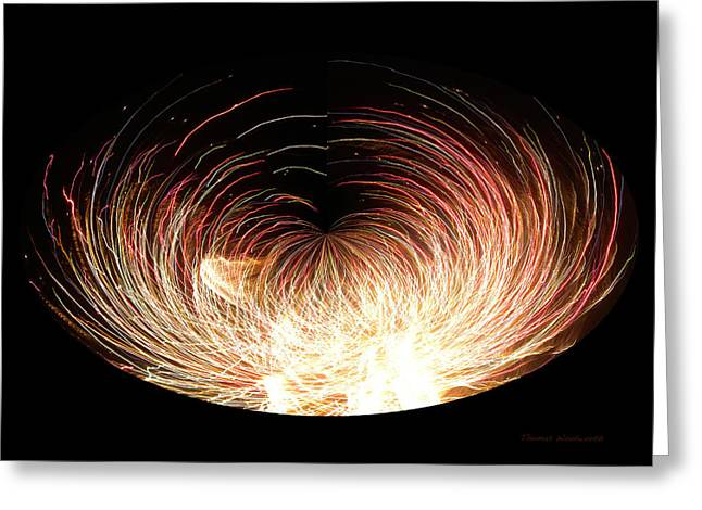 Pyrotechnics Digital Art Greeting Cards - Fireworks Polar View Greeting Card by Thomas Woolworth