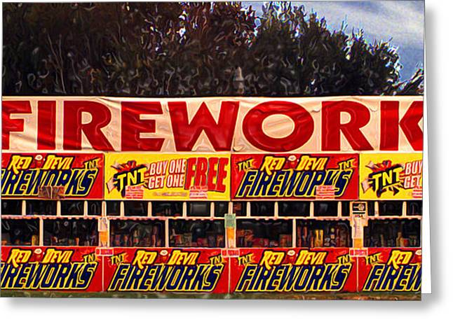 Recently Sold -  - Candle Stand Greeting Cards - Fireworks Greeting Card by Ron Regalado