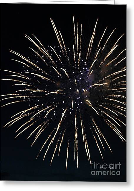 Purple Fireworks Greeting Cards - Fireworks Series IV Greeting Card by Suzanne Gaff