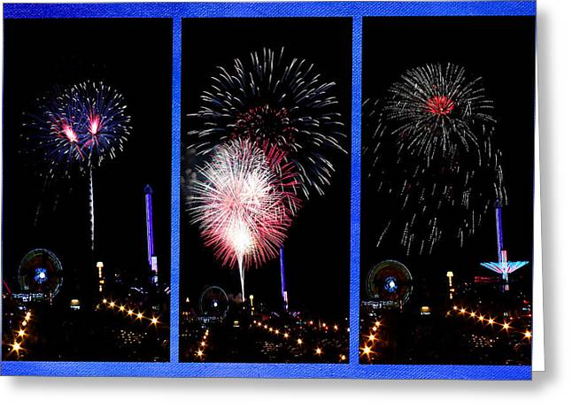 Pyrotechnics Greeting Cards - Fireworks Triptych Greeting Card by Judy Vincent