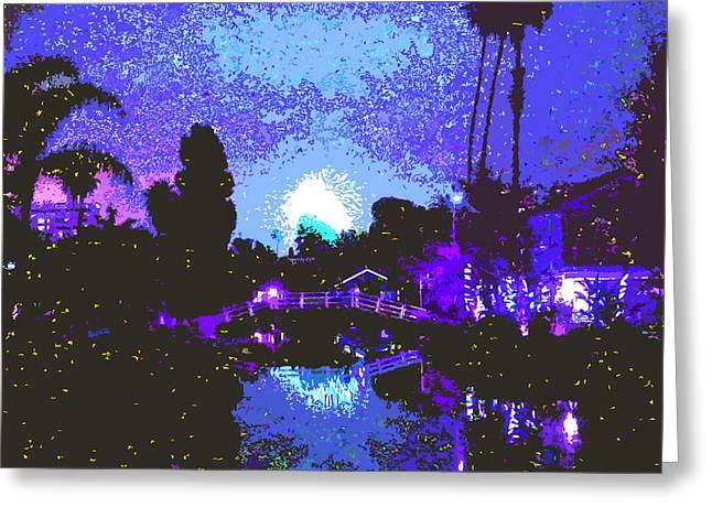 Fireworks Venice California Greeting Card by Jerome Stumphauzer