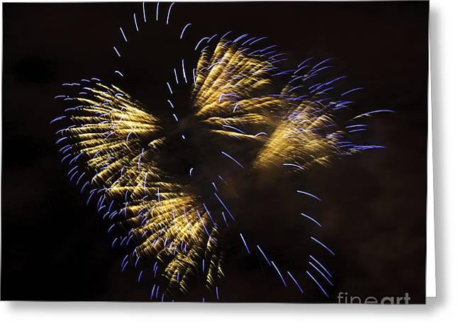 Feuerwerk Greeting Cards - Fireworks Yellow-Blue Greeting Card by Katja Zuske