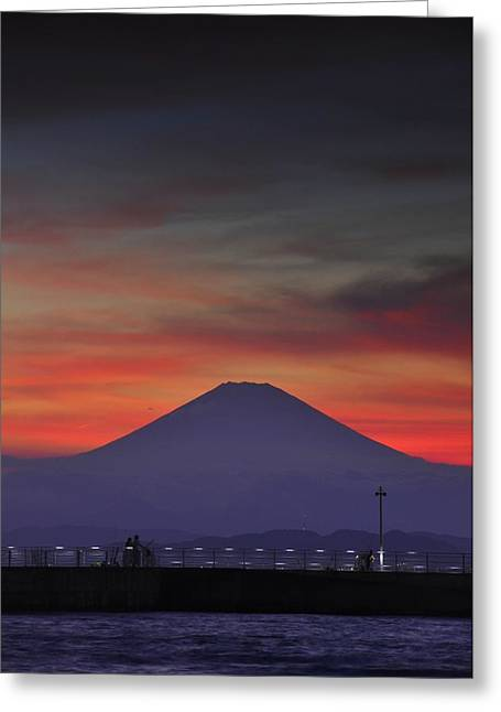 Silhouettes Greeting Cards - Firey Fuji Greeting Card by Aaron S Bedell