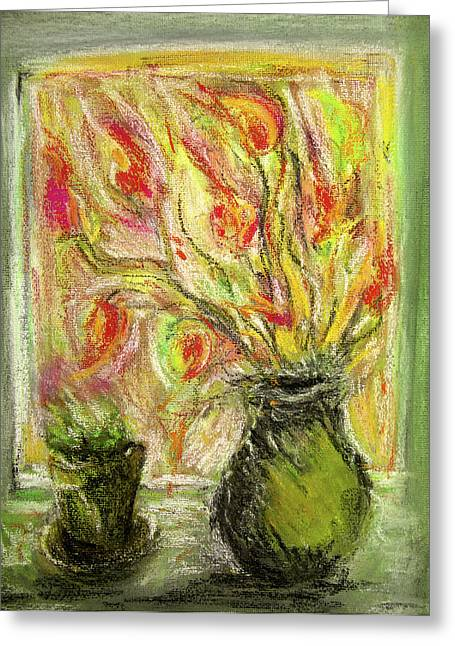 Olive Green Pastels Greeting Cards - Firery Window Greeting Card by Linde Townsend