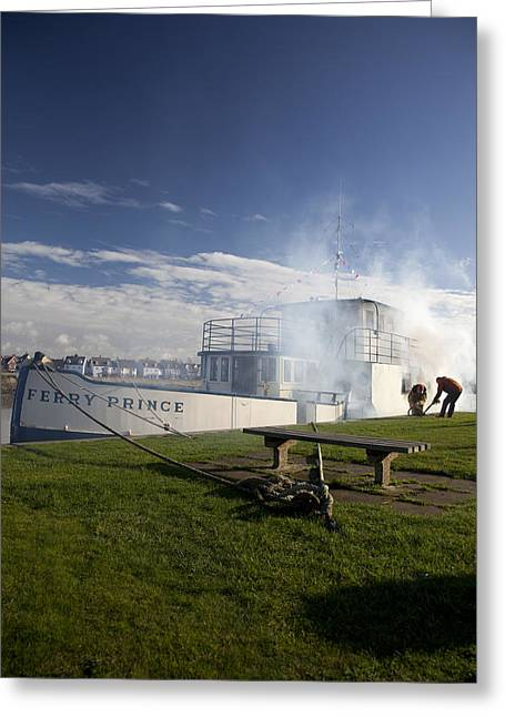 Greensward Greeting Cards - Firing Up The Old Ferry Prince Greeting Card by David Davies