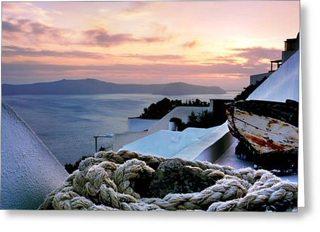 Cyclades Greeting Cards - Santorini Sunset Greeting Card by Rod McLean