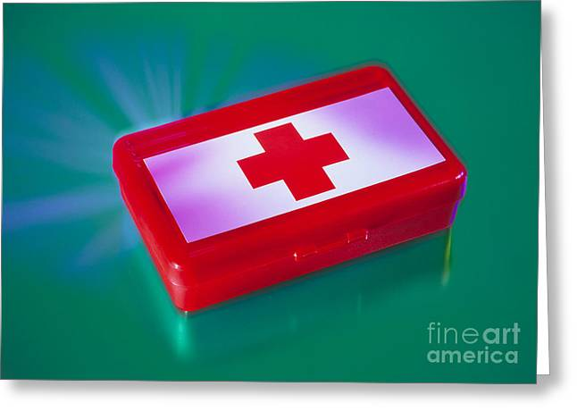 Medical Supplies Greeting Cards - First Aid Kit Greeting Card by Erich Schrempp