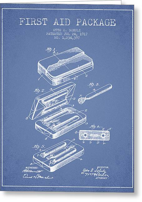Firsts Digital Greeting Cards - First Aid Package Patent from 1917 - Light Blue Greeting Card by Aged Pixel