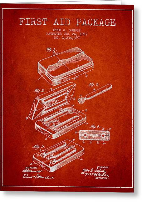 Medication Greeting Cards - First Aid Package Patent from 1917 - red Greeting Card by Aged Pixel