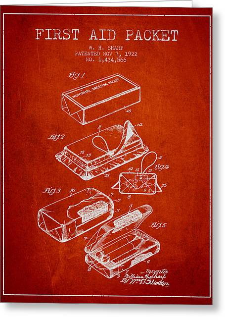 Medication Greeting Cards - First Aid Packet Patent from 1922 - Red Greeting Card by Aged Pixel