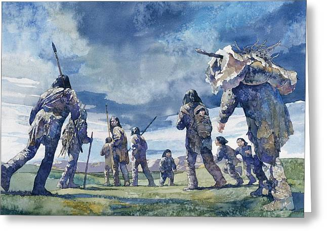 Pioneer Illustration Greeting Cards - First Americans Greeting Card by Greg Harlin
