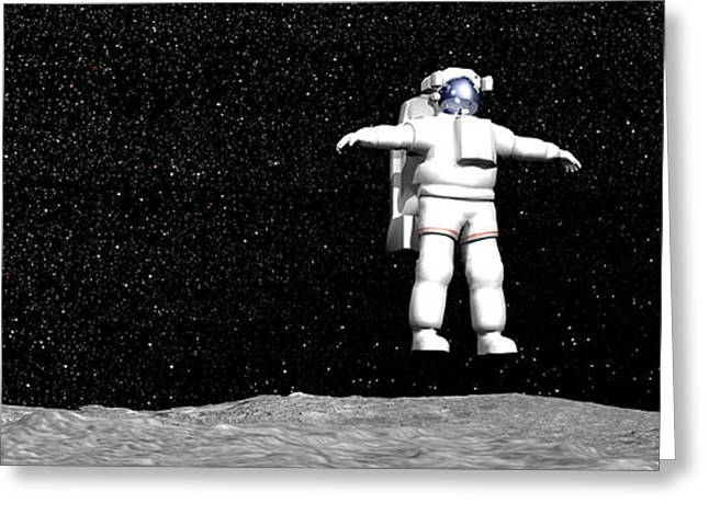 Moonwalk Digital Greeting Cards - First Astronaut On The Moon Floating Greeting Card by Elena Duvernay
