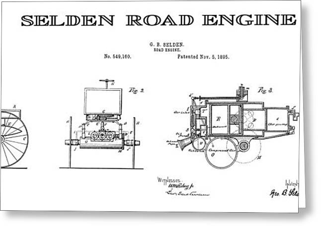 Historical Blueprint Greeting Cards - First Gasoline Automobile Patent Art 1895 Greeting Card by Daniel Hagerman