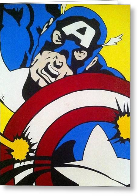 Captain America Paintings Greeting Cards - First Avenger Greeting Card by Jamie Blackbourn
