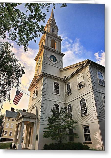 New England Ocean Greeting Cards - First Baptist Church in America Greeting Card by Stephen Stookey