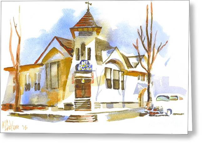 Cars In Winter Greeting Cards - First Baptist Church in Winter Greeting Card by Kip DeVore