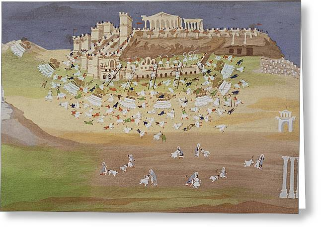 Ottoman Empire Greeting Cards - First Battle Of Athens In 1826 Greeting Card by Greek School