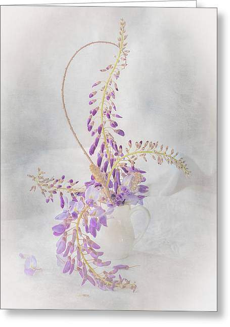 Cloth Greeting Cards - First Bloom Greeting Card by Constance Fein Harding