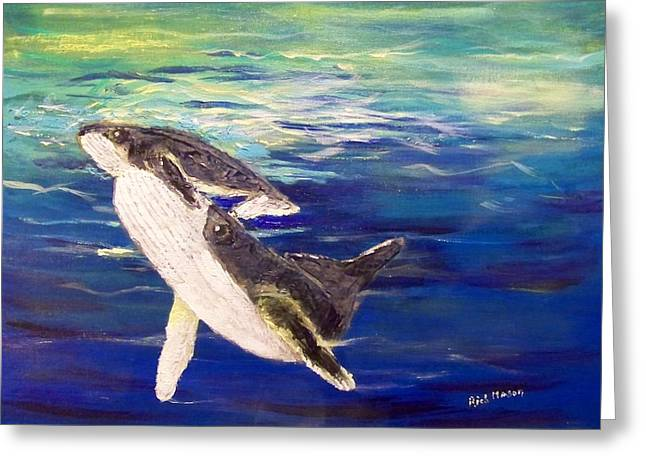 Underwater View Paintings Greeting Cards - First Breath     Greeting Card by Rich Mason