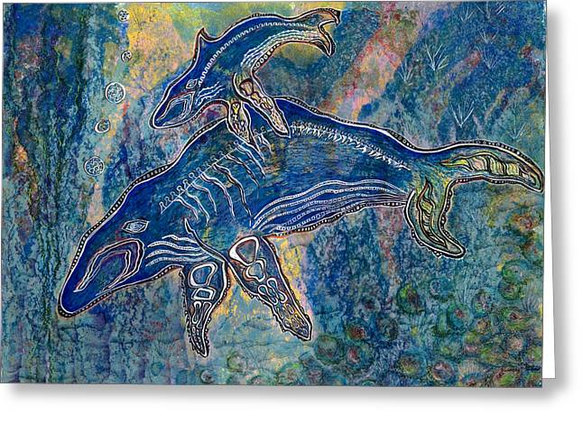 Whale Pastels Greeting Cards - First Breath Greeting Card by Dorothy Graden