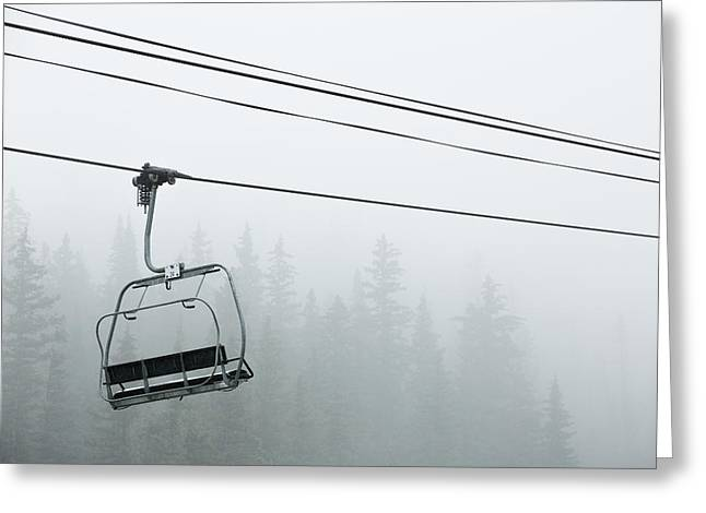 Chairlift Greeting Cards - First Chair in the Storm Greeting Card by Adam Pender