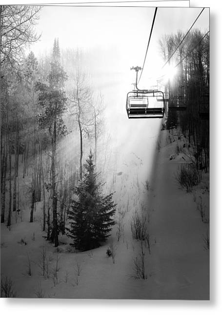 Snowboard Greeting Cards - First Chair Greeting Card by Sean McClay