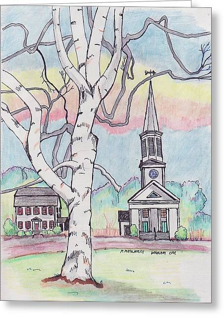 Urban Images Drawings Greeting Cards - First Church Whenam Greeting Card by Paul Meinerth