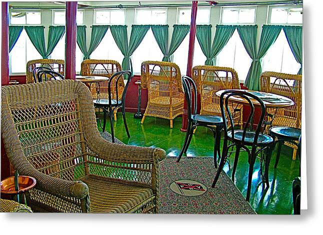 First-class Digital Art Greeting Cards - First Class Lounge in S S Klondike on Yukon River in Whitehorse-YT Greeting Card by Ruth Hager