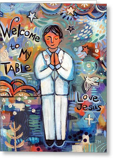 Religious Art Paintings Greeting Cards - First Communion Boy Greeting Card by Jen Norton