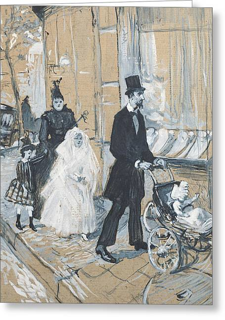 Shop Window Greeting Cards - First Communion Day, 1888 Grisaille On Cardboard Greeting Card by Henri de Toulouse-Lautrec
