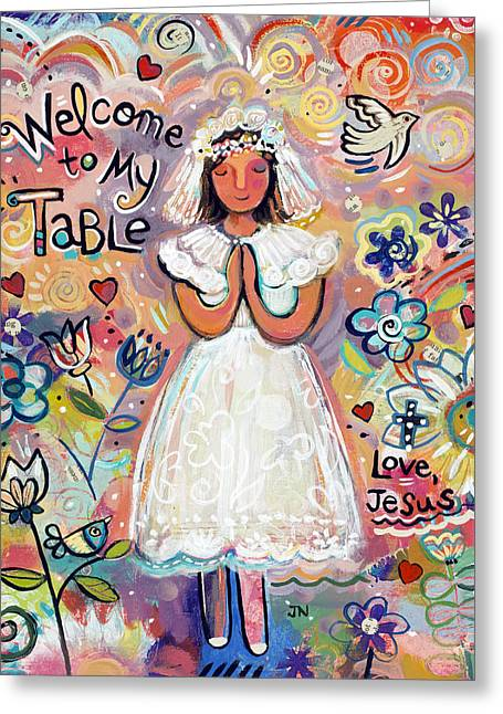 Religious Paintings Greeting Cards - First Communion Girl Greeting Card by Jen Norton