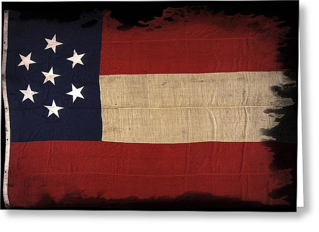 Recently Sold -  - Civil Greeting Cards - First Confederate Flag Greeting Card by Daniel Hagerman